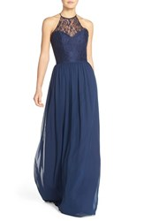 Women's Hayley Paige Occasions Lace And Chiffon Halter Gown Navy