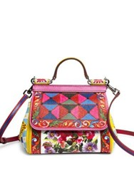 Dolce And Gabbana Mini Miss Sicily Printed Leather Top Handle Bag Pink Multi