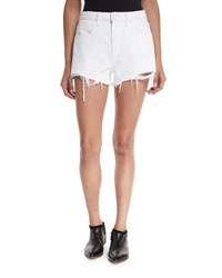Alexander Wang Bite Denim Cutoff Shorts White Scratch