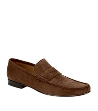 Stemar Suede Penny Loafer Male Mid Brown
