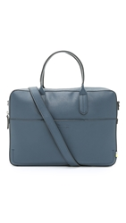 Ben Minkoff Waxy Leather Fulton Briefcase Ocean Blue
