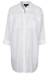 Topshop Split Back Beach Shirt White