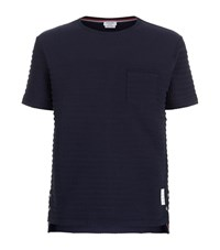 Thom Browne Rope Stitch T Shirt Male Navy