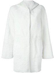 Drome Hooded Fur Coat White
