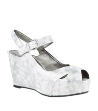 Stuart Weitzman Turnover Metallic Wedge Shoe Female Silver