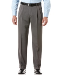 Perry Ellis Portfolio Big And Tall Double Pleat Melange Microfiber Dress Pants Grey Heather