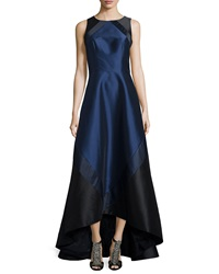Theia Sleeveless Colorblock High Low Gown Midnight