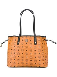 Mcm Logo Print Tote Nude And Neutrals