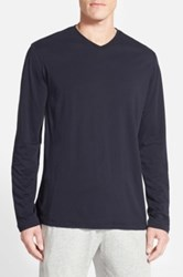 Daniel Buchler Pima Cotton And Modal Long Sleeve V Neck T Shirt Blue