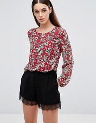 Tfnc Printed Long Sleeve Top Red
