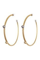 Alor 18K Yellow Gold White And Yellow Stainless Steel Cable Hoop Earrings
