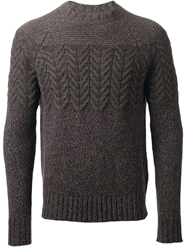 Jacob Cohen Cable Knit Panel Sweater Grey