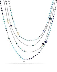David Yurman Bead Necklace With Lapis Lazuli Hampton Blue Topaz Hematine And 18K Gold Blue Silver
