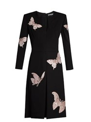 Alexander Mcqueen Moth Embroidered V Neck Crepe Dress Black Pink