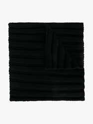 Moncler Virgin Wool Ribbed Scarf Black Denim