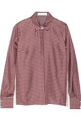 Victoria Beckham Gingham Print Silk Faille Shirt Red