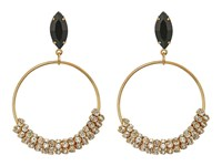 Guess Stone Bottom Hoops On Wire Earrings Gold Crystal Jet Earring