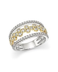 Bloomingdale's Diamond Triple Row Open Ring In 14K White And Yellow Gold .90 Ct. T.W. White Gold