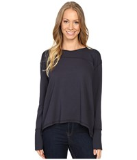 Mod O Doc Cotton Modal Spandex French Terry Crossover Back Long Sleeve Pullover Gibraltar Women's Long Sleeve Pullover Gray