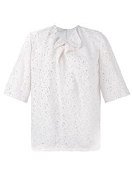Stella Mccartney Ruffled Collar Floral Blouse Pink And Purple
