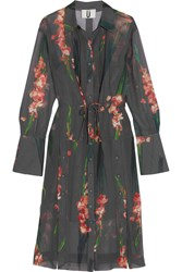 Topshop Unique Selwyn Floral Print Silk Georgette Shirt Dress Charcoal Gray