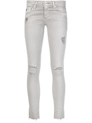 Ag Jeans Ripped Ankle Length Skinny Jeans Grey