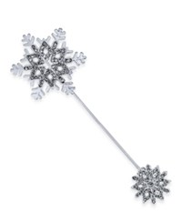 Charter Club Silver Tone Crystal Snowflake Stick Brooch Only At Macy's