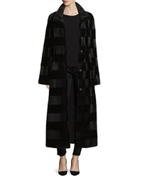 Gorski Horizontal Striped Mink Fur Long Coat Black