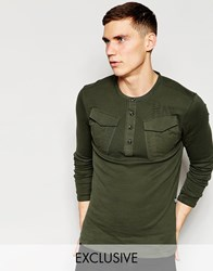 G Star G Star Be Raw Exclusive To Asos Long Sleeve Grandad Parker In Forest Night Green