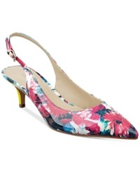 Marc Fisher Tiffani Kitten Heel Slingback Pumps Women's Shoes Pink Floral Patent Leather