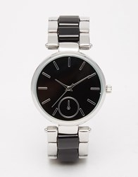 Asos Silver Boyfriend Watch With Monochrome Face Black