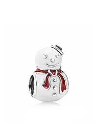 Pandora Design Pandora Charm Sterling Silver And Enamel Happy Snowman Moments Collection White Red Silver