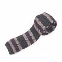 Nick Bronson Knitted Silk Stripe Tie Purple Ash Charcoal