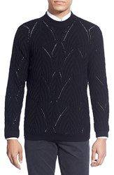 Theory 'Soler' Trim Fit Openwork Crewneck Sweater Black