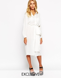 Love Belted Midi Shirt Dress White
