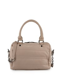 Neiman Marcus Quilted Faux Leather Duffle Bag Taupe Brown