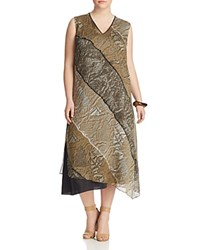 Marina Rinaldi Silk Davanti Dress Mustard