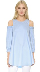 Tibi Cutout Shoulder Tunic Morning Blue