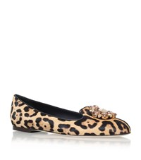 Dolce And Gabbana Vally Leopard Print Pony Slippers Female Beige