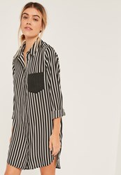 Missguided Black And White Stripe Pocket Shirt Dress