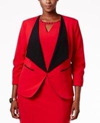 Nine West Plus Size Taylor Stretch Wide Lapel Blazer Fire Red Black