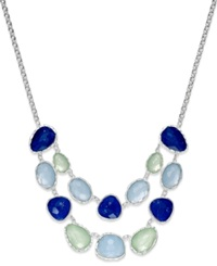 Charter Club Silver Tone Blue Stone Two Row Necklace Multicolor
