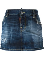 Dsquared2 Distressed Denim Skirt Blue