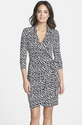 Maggy London Print Long Sleeve Jersey Wrap Dress Regular And Petite Black Ivory
