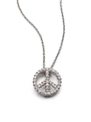 Roberto Coin Tiny Treasures Diamond And 18K White Gold Large Peace Sign Pendant Necklace Silver