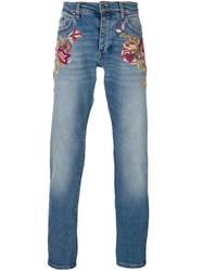 Roberto Cavalli Embroidered Slim Fit Jeans Blue