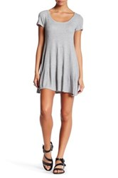 Final Touch Short Sleeve Knit Fit And Flare Dress Petite Grey