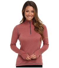 Hot Chillys Geo Pro Zip T Rose Heather Women's Long Sleeve Pullover Brown