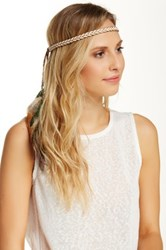 David And Young Feather Tassel Braided Headwrap Beige