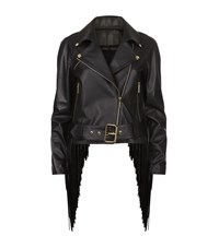 Elie Saab Fringed Leather Biker Jacket Female Black